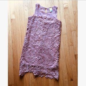 Blush colored lace dress